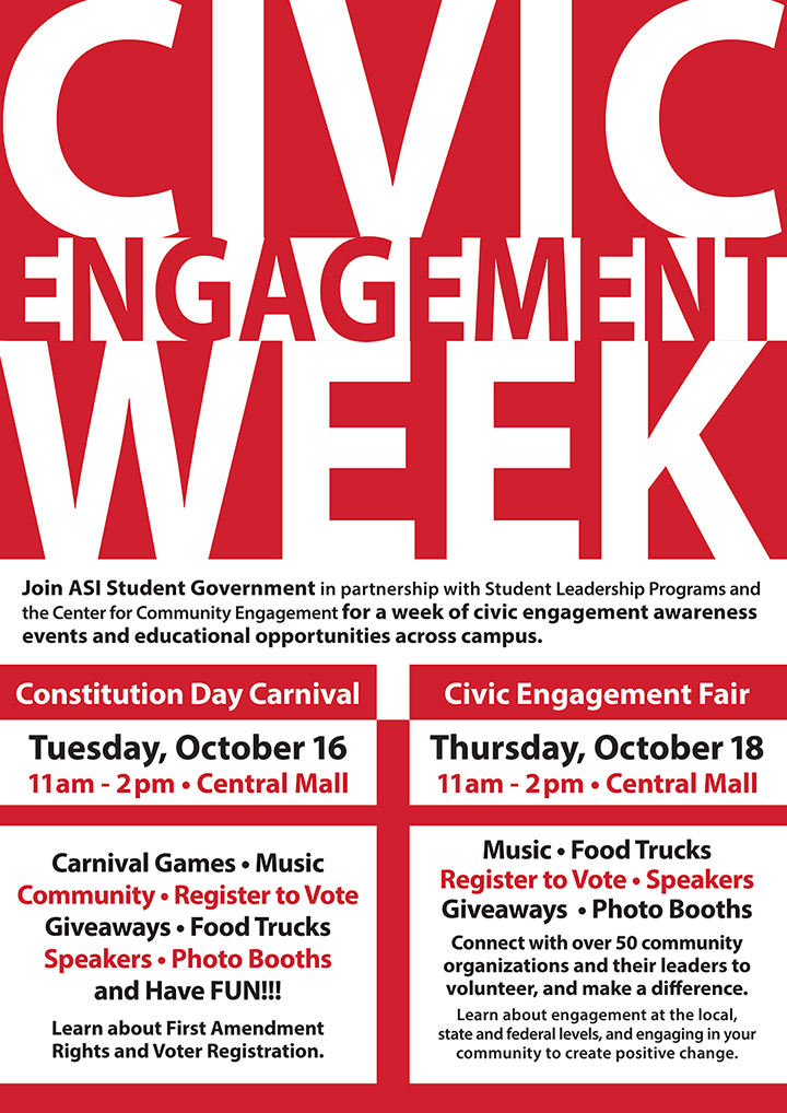 Join ASI Student Government in partnership with Student Leadership Programs and the Center for Community Engagement for a week of civic engagement awareness events and educational opportunities across campus.