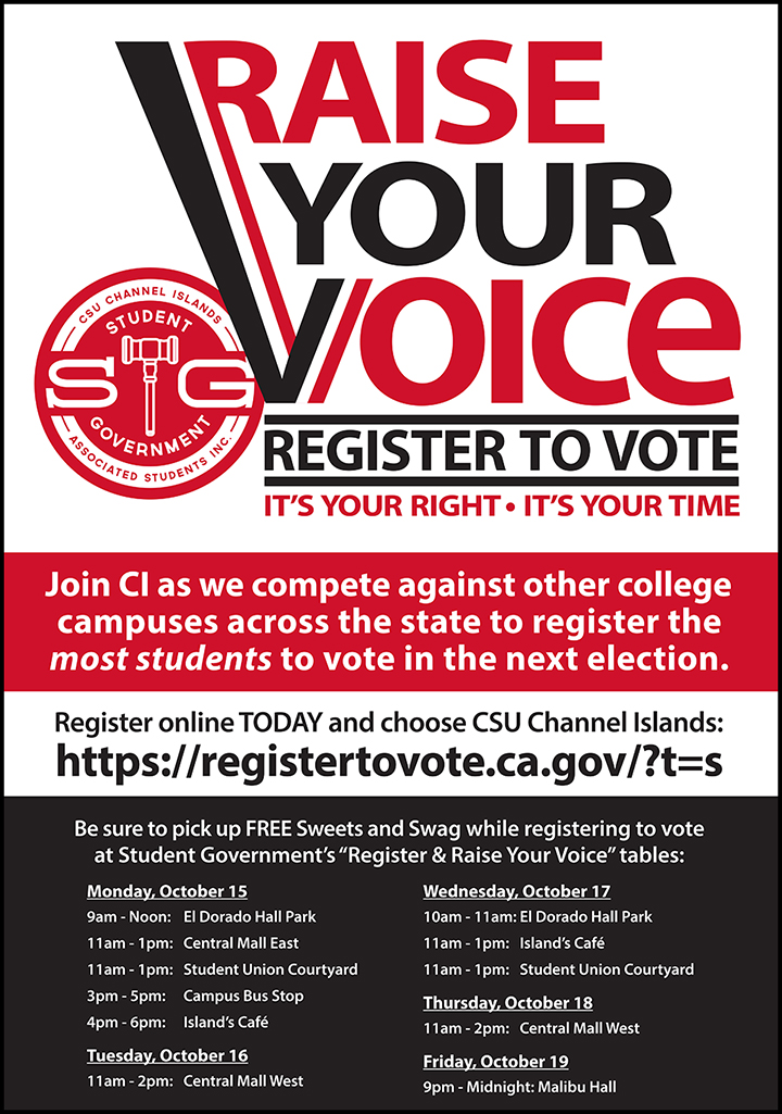 Join CI as we compete against other college campuses across the state to register the most students to vote in the next election.