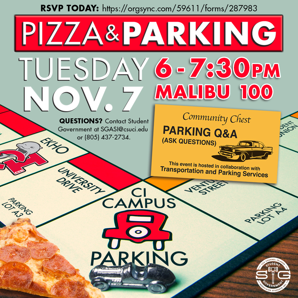 Flyer for Student Government's Pizza and Parking event.
